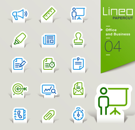 Lineo Papercut - Office and Business icons outline Banco de Imagens - 48524074