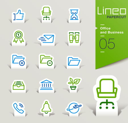 filing cabinet: Lineo Papercut - Office and Business icons outline