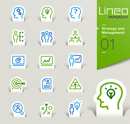 business teamwork: Lineo Papercut - Strategy and Management outline icons Illustration