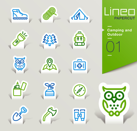 Lineo Papercut - Camping and Outdoor outline icons