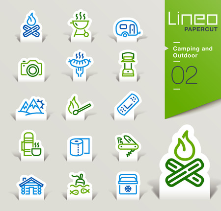 excursion: Lineo Papercut - Camping and Outdoor outline icons
