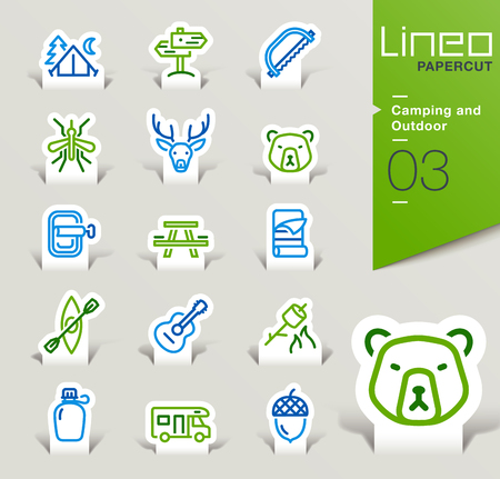 camping equipment: Lineo Papercut - Camping and Outdoor outline icons