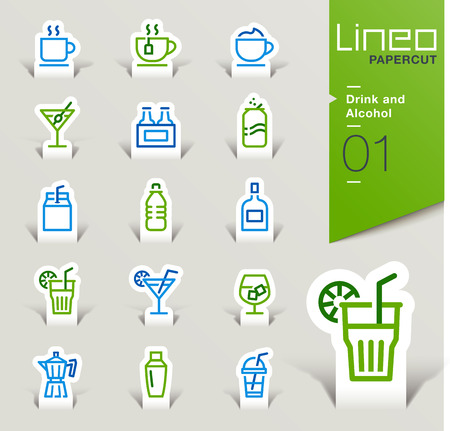 waterpolo: Lineo Papercut - Drink and Alcohol outline icons Illustration