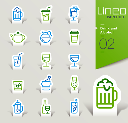 fruit juice: Lineo Papercut - Drink and Alcohol outline icons Illustration