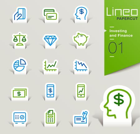 Lineo Papercut - Investeringen en Financiën overzicht pictogrammen Stockfoto - 48524247