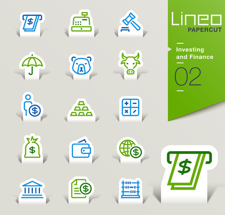 Stock Vector: Lineo Papercut - Investing and Finance outline icons
