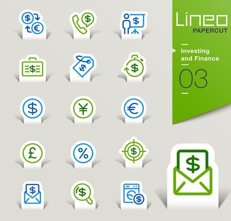 icono computadora: Lineo Papercut - Inversión y finanzas iconos contorno Vectores