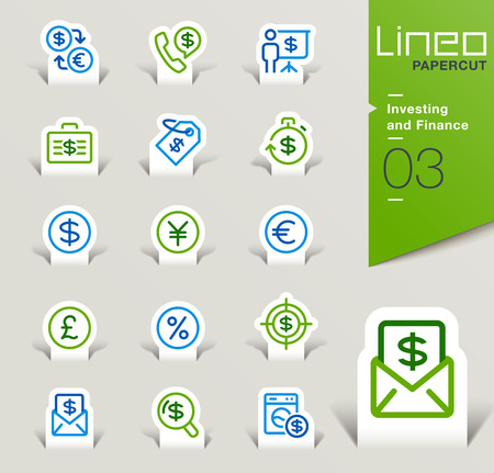 telephone icons: Lineo Papercut - Investing and Finance outline icons
