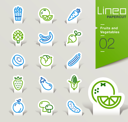 nectarine: Lineo Papercut - Fruits and Vegetables icons outline