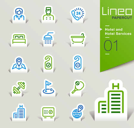 Lineo Papercut - Hotel and Hotel Services icons outline