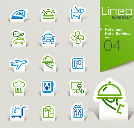 mini bar: Lineo Papercut - Hotel and Hotel Services icons outline