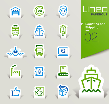 web icons set: Lineo Papercut - Logistics and Shipping outline icons