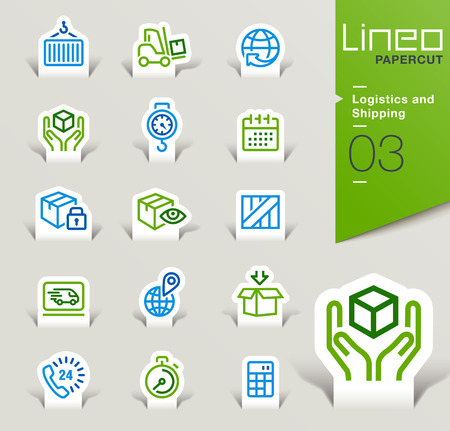 logistics: Lineo Papercut - Logistics and Shipping outline icons