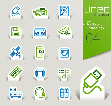 Lineo Papercut - Media and Technology outline icons Illustration