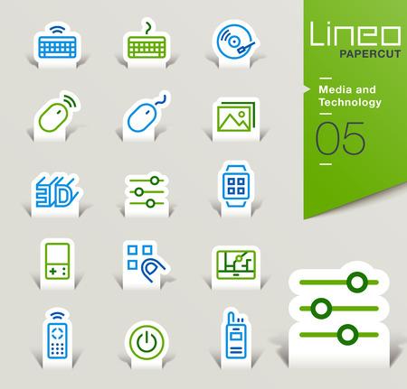 icono ordenador: Lineo Papercut - Medios y Tecnología iconos contorno Vectores
