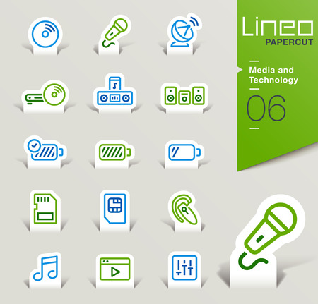 dish disk: Lineo Papercut - Media and Technology outline icons Illustration