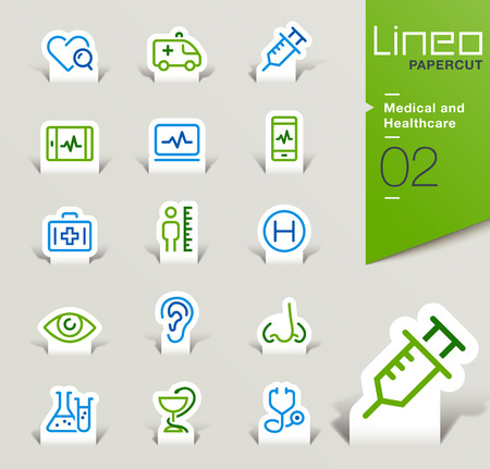 Lineo Papercut - Medical and Healthcare icons outline Иллюстрация