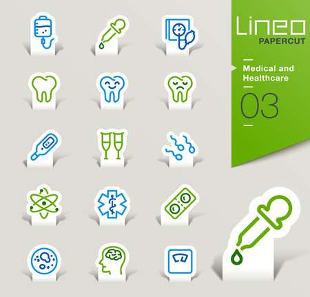 catheter: Lineo Papercut - Medical and Healthcare icons outline Illustration