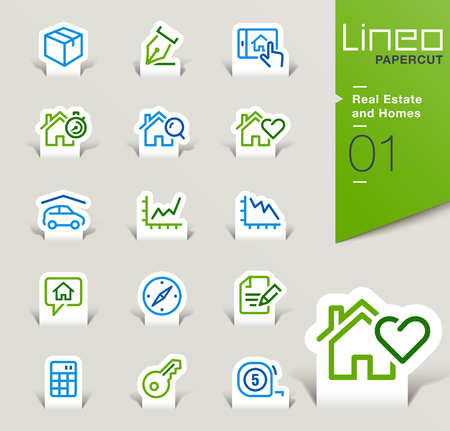 real estate icons: Lineo Papercut - Real Estate and Homes outline icons Illustration