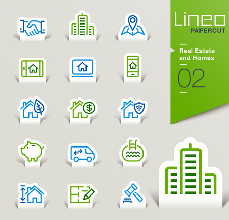 swimming pool home: Lineo Papercut - Real Estate and Homes outline icons Illustration