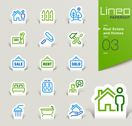 pay check: Lineo Papercut - Real Estate and Homes outline icons Illustration