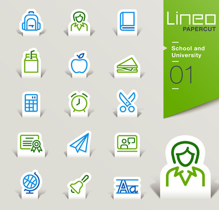 lined up: Lineo Papercut - School and University outline icons