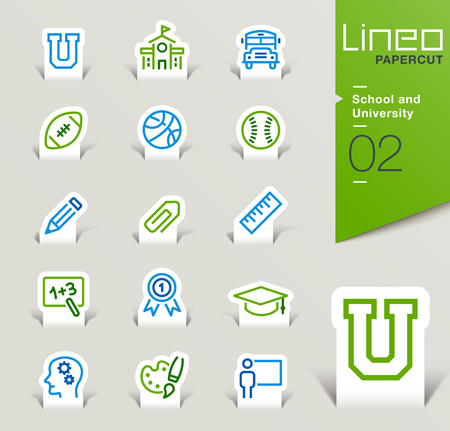 icons set: Lineo Papercut - School and University outline icons