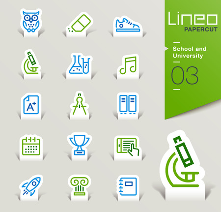 zapatos escolares: Lineo Papercut - School and University outline icons