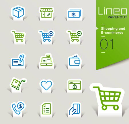 Lineo Papercut - Shopping and E-commerce icons outline