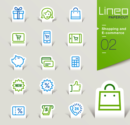 shop online: Lineo Papercut - Shopping and E-commerce icons outline