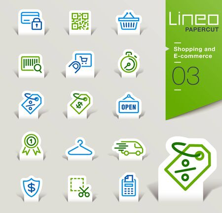 business credit application: Lineo Papercut - Shopping and E-commerce icons outline