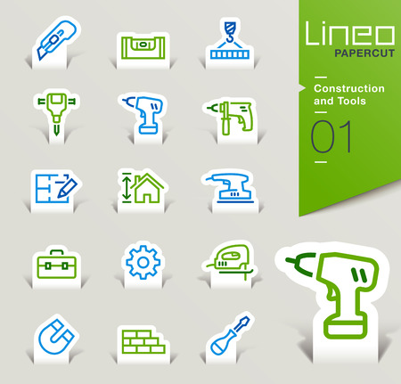 construction: Lineo Papercut - Construction and Tools icons outline