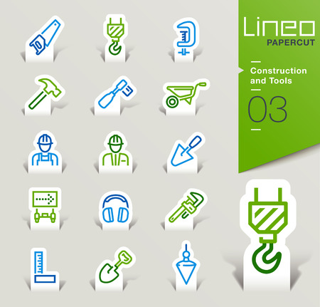 plumb: Lineo Papercut - Construction and Tools icons outline
