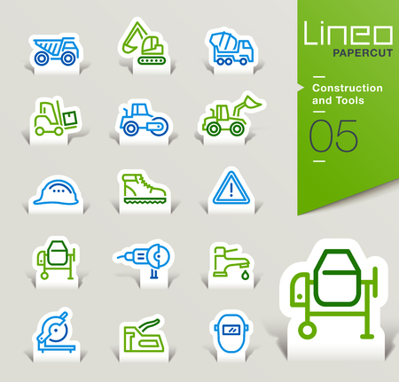 safety shoes: Lineo Papercut - Construction and Tools icons outline