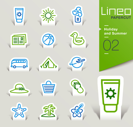rubber ring: Lineo Papercut - Holiday and Summer outline icons
