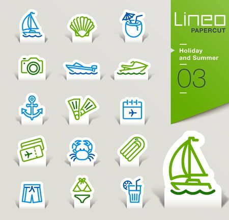 ski pass: Lineo Papercut - Holiday and Summer outline icons