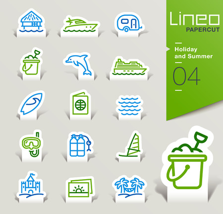 bungalow: Lineo Papercut - Holiday and Summer outline icons