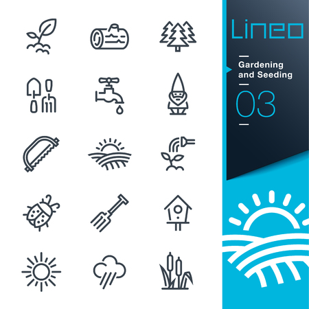water: Lineo - Gardening and Seeding line icons