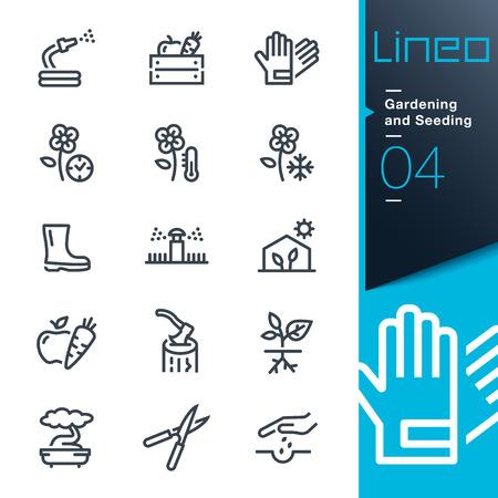 Lineo - Tuinieren en zaaien lijn iconen Stock Illustratie
