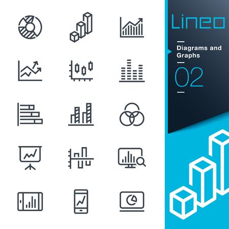 Lineo - diagrammen en grafieken lijn iconen Stock Illustratie