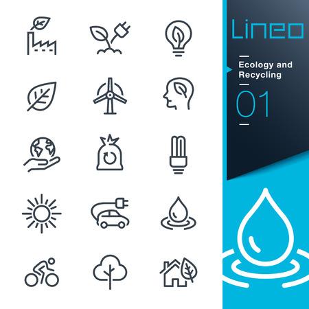Lineo - Ecologia e riciclaggio icone delle linee Archivio Fotografico - 66551284