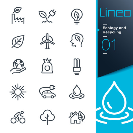 Lineo - Ecology and Recycling line icons Ilustrace