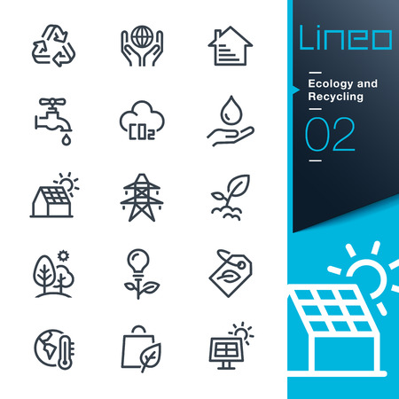heatwave: Lineo - Ecology and Recycling line icons Illustration