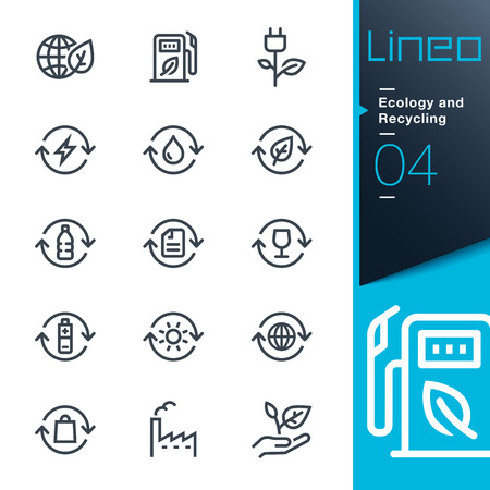 fuel and power generation: Lineo - Ecology and Recycling line icons Illustration