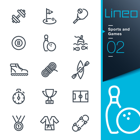 soccer field: Lineo - Sports and Games line icons