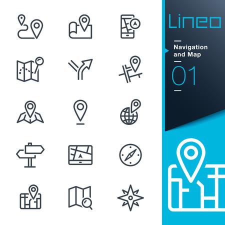 Lineo - ナビゲーションと地図線アイコン  イラスト・ベクター素材