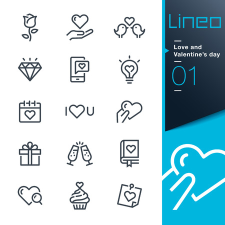 Lineo - Love and Valentines day icons line Иллюстрация