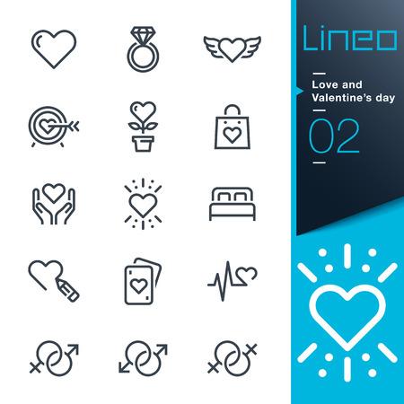 boda gay: Lineo - Love and Valentines línea de iconos del día Vectores