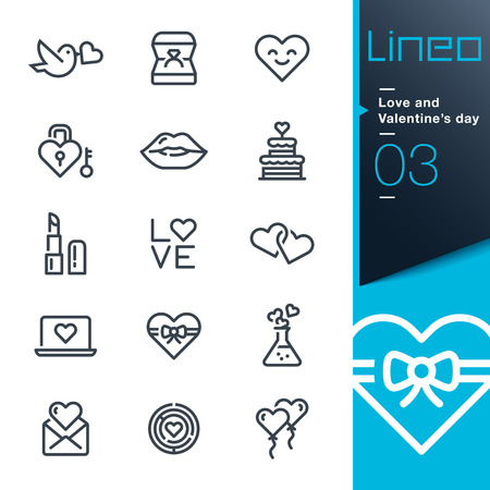 symbol: Lineo - Love and Valentines day icons line Illustration