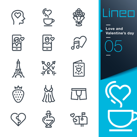 lady on phone: Lineo - Love and Valentines day icons line Illustration